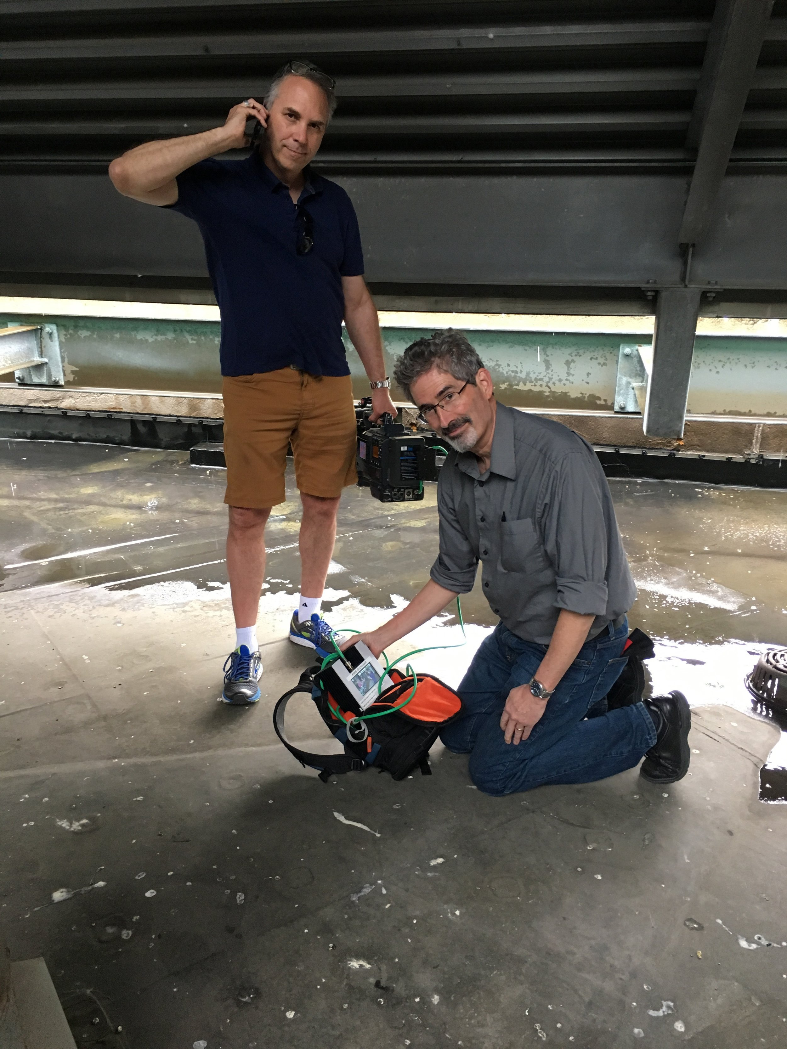 The glamour of TV: On the roof during a rainstorm trying to get a good enough signal to transmit footage via a LiveU for a story on Nightly News...that airs in an hour!