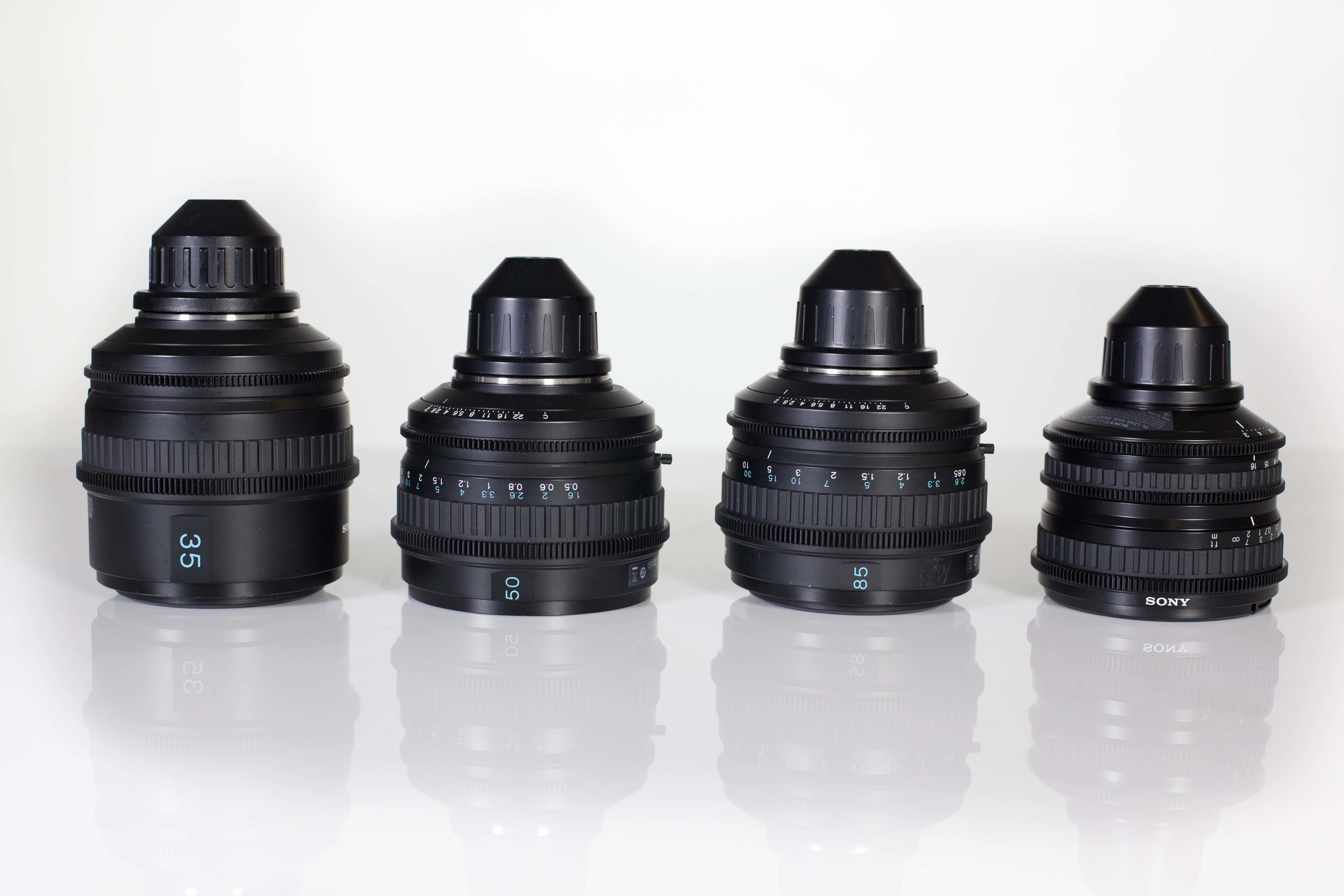Sony SCL Prime Lenses - Sony's line of PL Mount Lenses, including: 35mm, 50mm, 85mm and 11-16mm