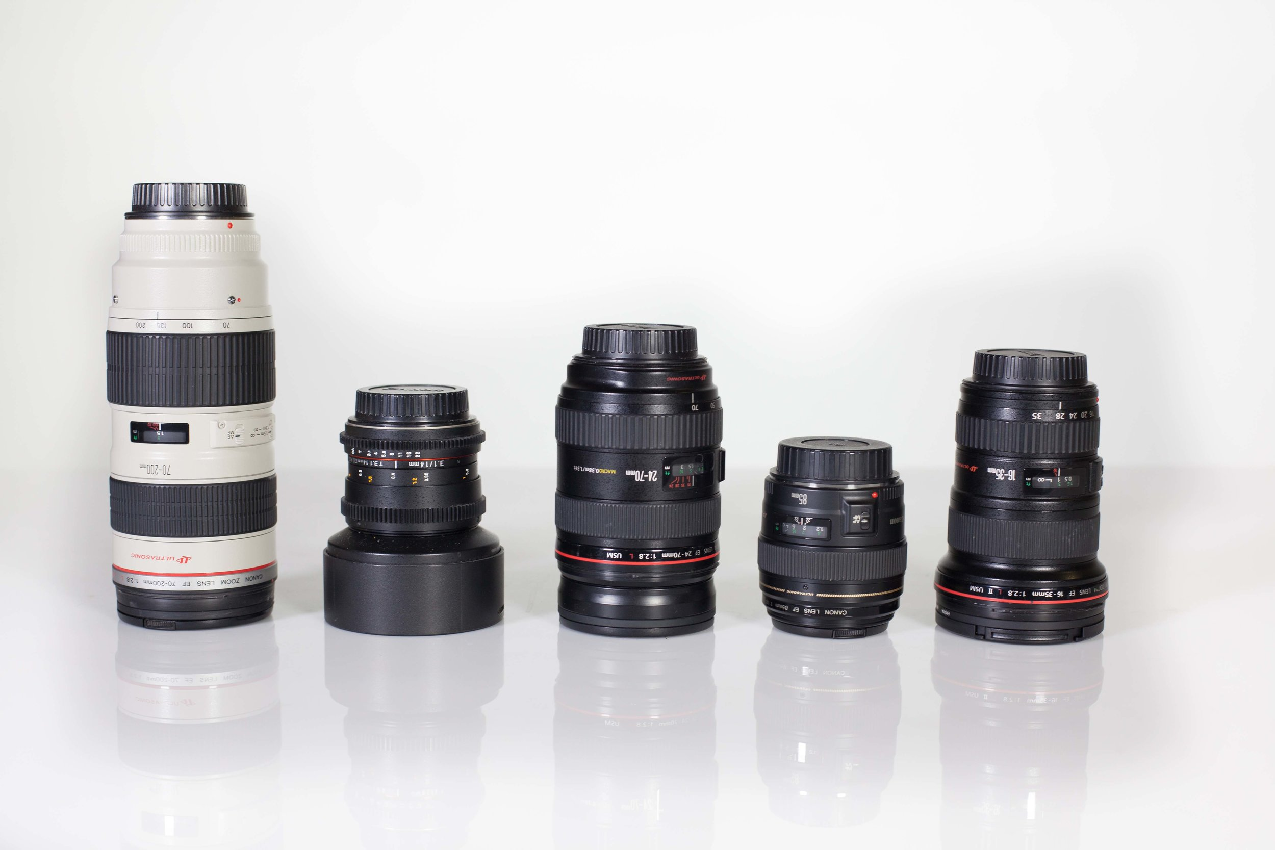 DSLR Glass - All the glass you will need: 14mm, 16-35mm, 24-70mm, 70-200mm, 50mm and 85mm prime