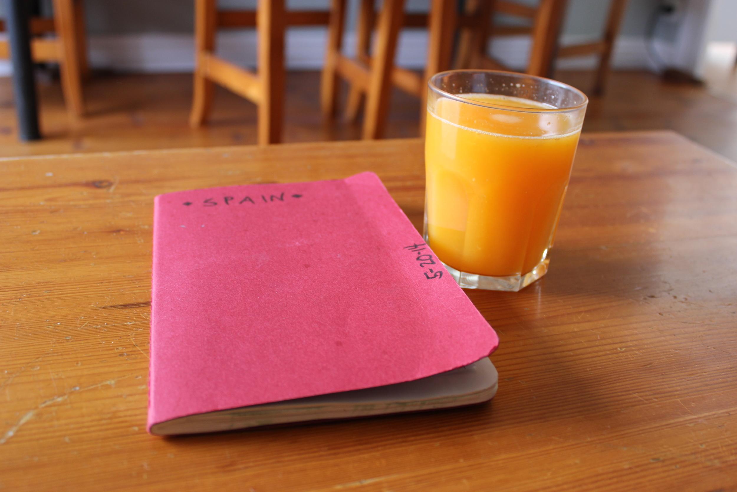 orange juice and my sketch book