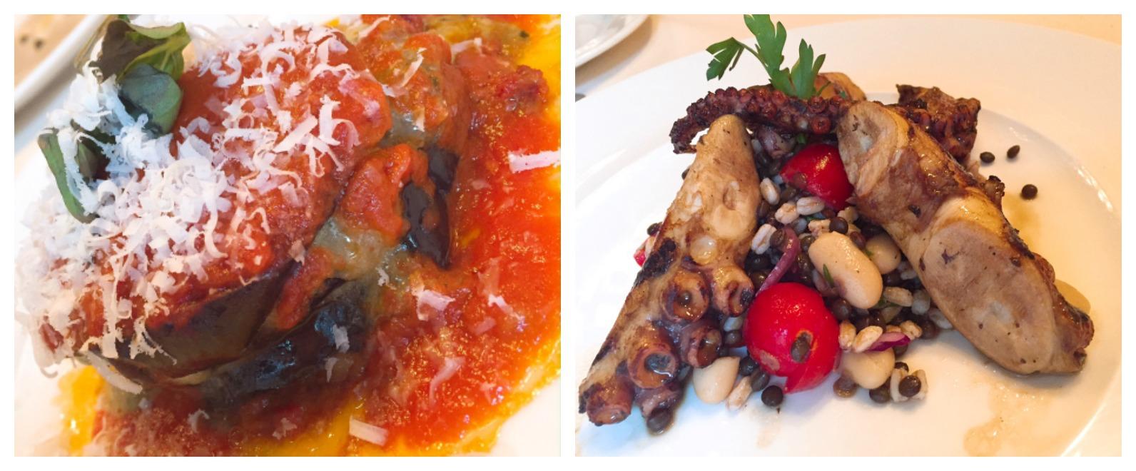 Quattro Miami Beach Eggplant parm and Grilled Octopus Appetizer