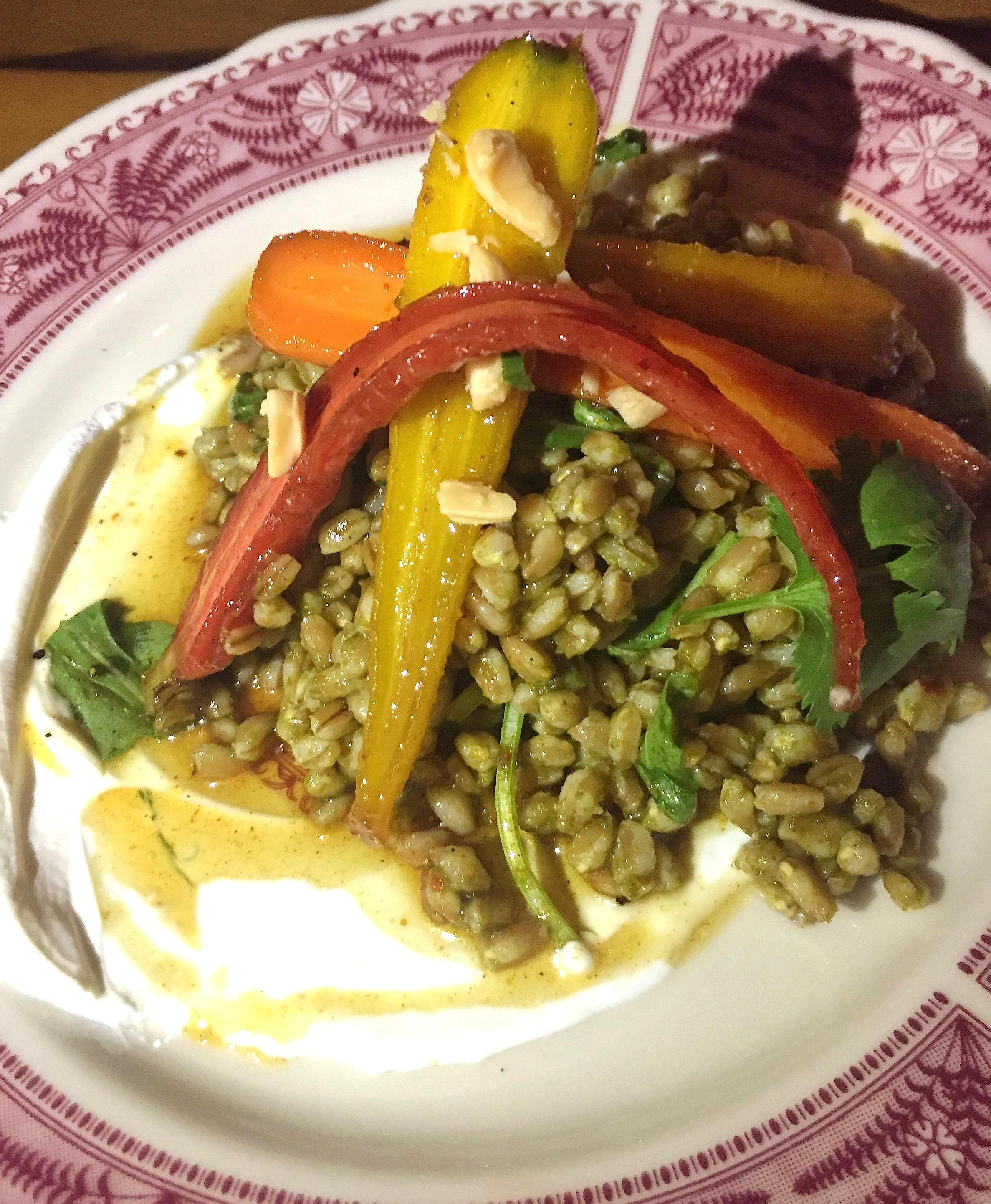 Sarsaparilla Club Spiced honey carrots and farro salad