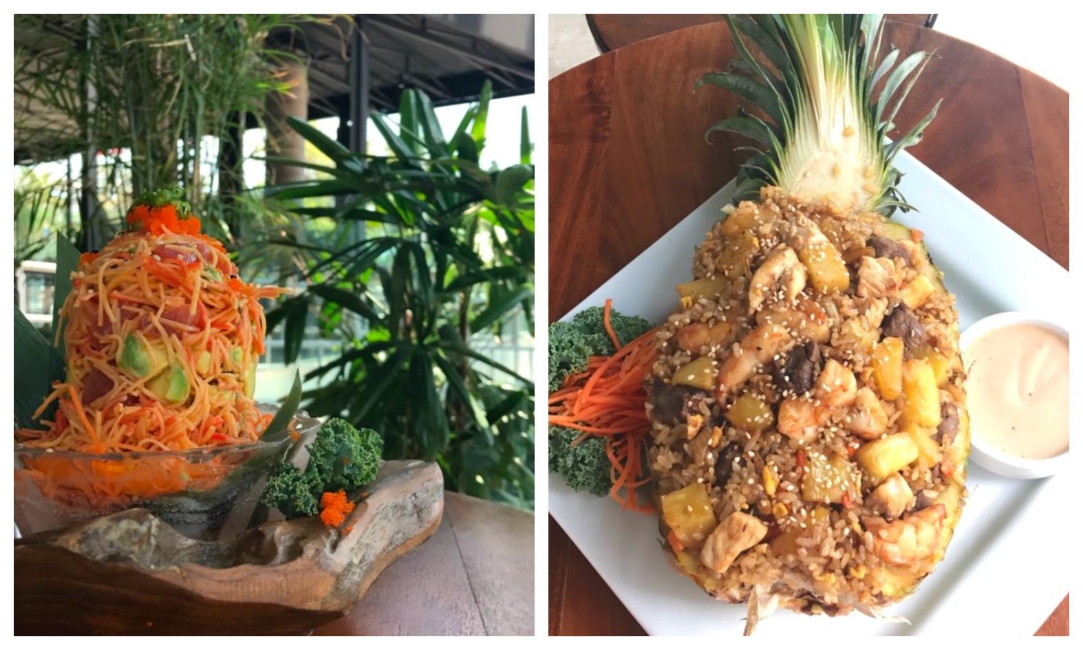 Sushi Sake Noodles and Pineapple rice