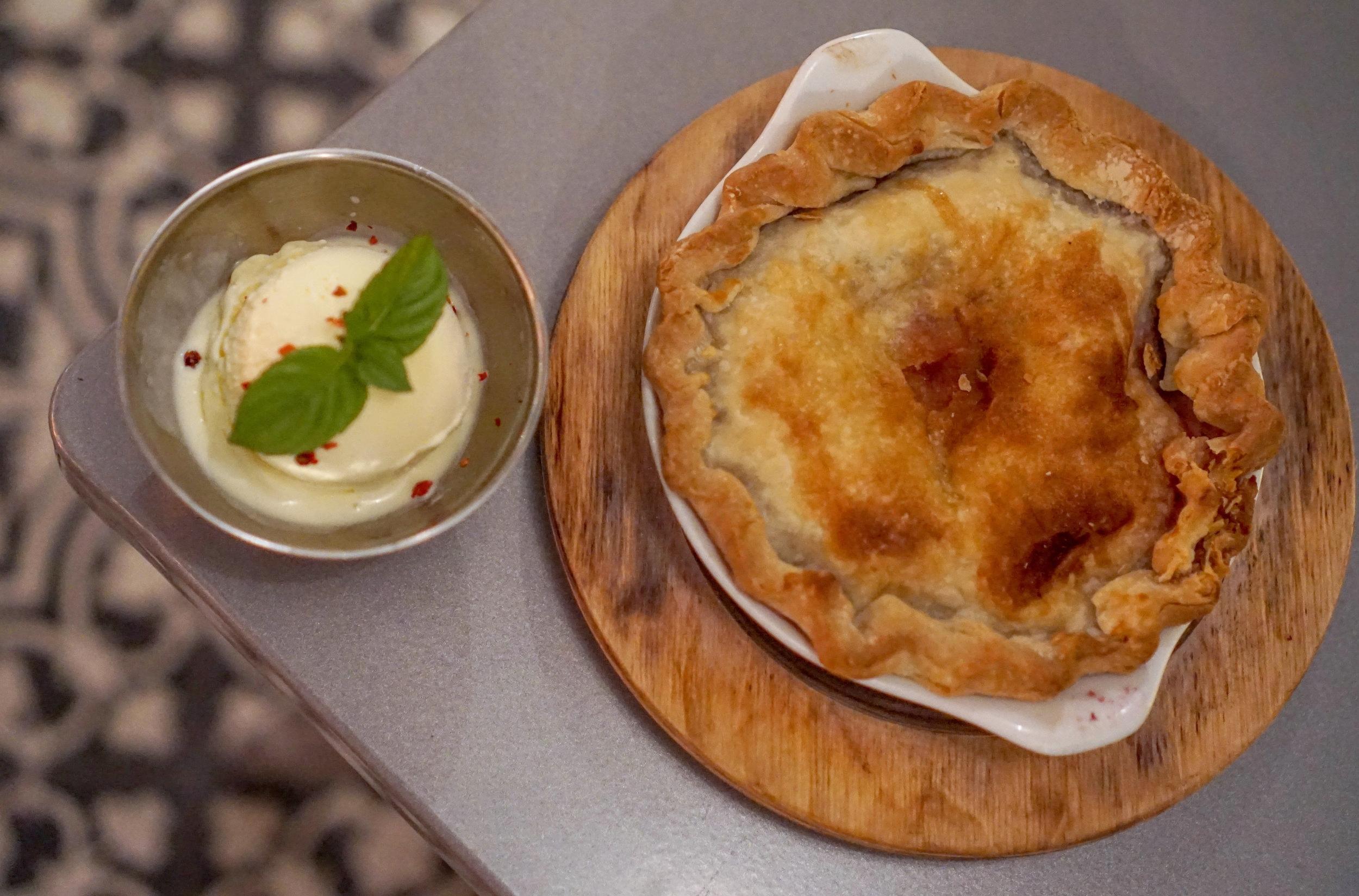 Charcoal Miami Strawberry Rhubarb pie