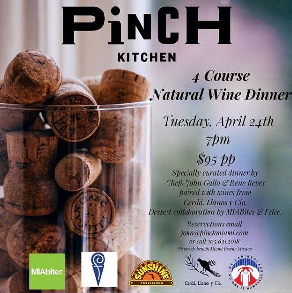pinch kitchen natural wine dinner with MIAbites