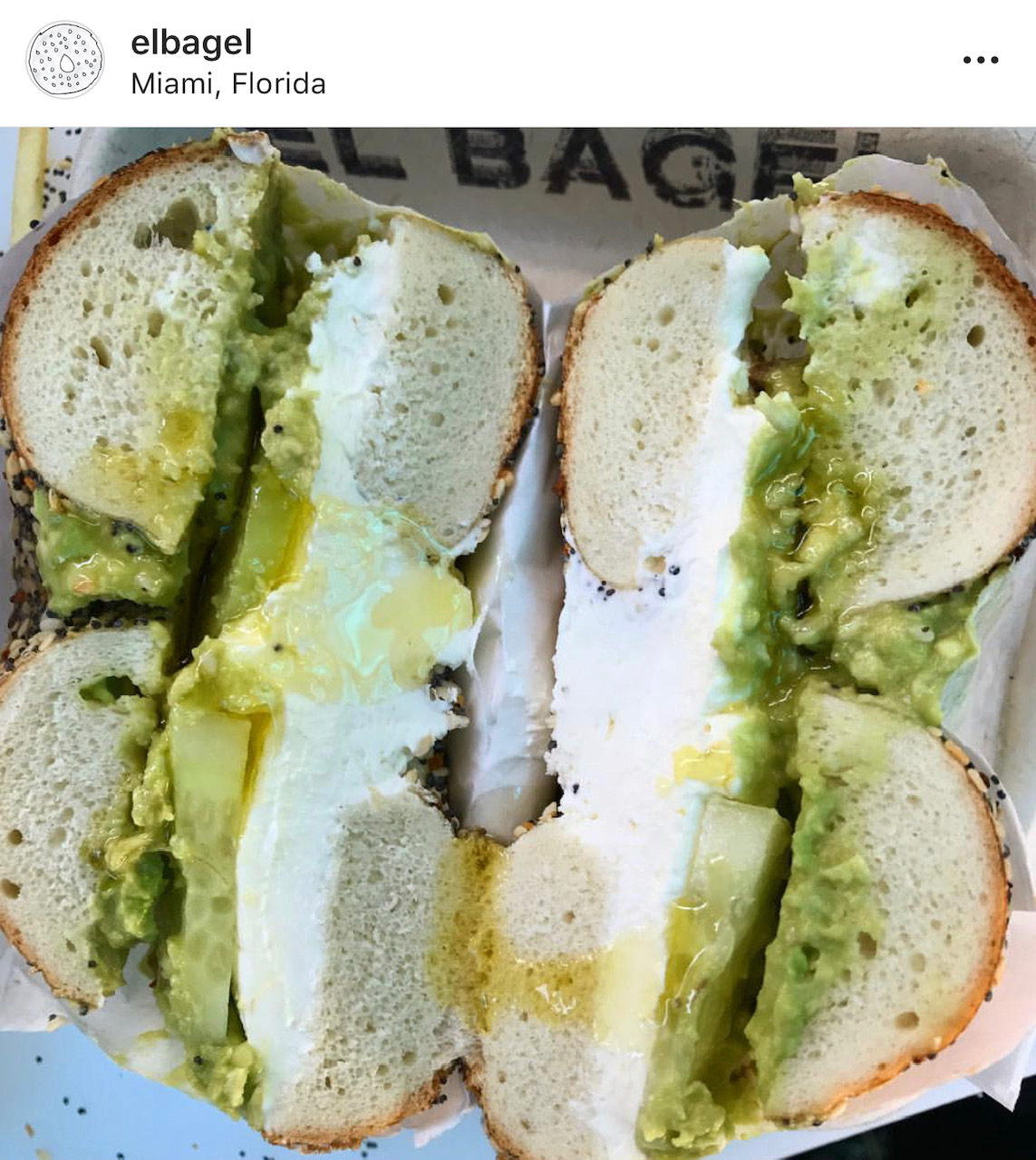 El Bagel Miami Avocado and Cream Cheese
