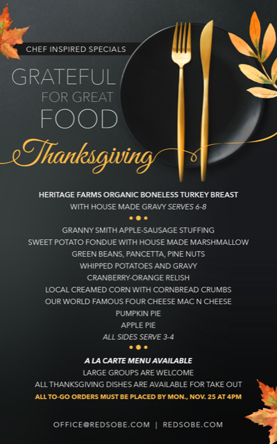 Red The Steakhouse Thanksgiving menu
