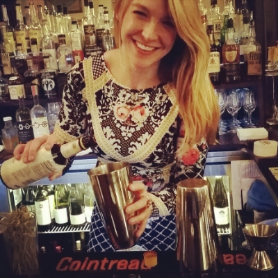 Our Mixologist Devin at the Bar