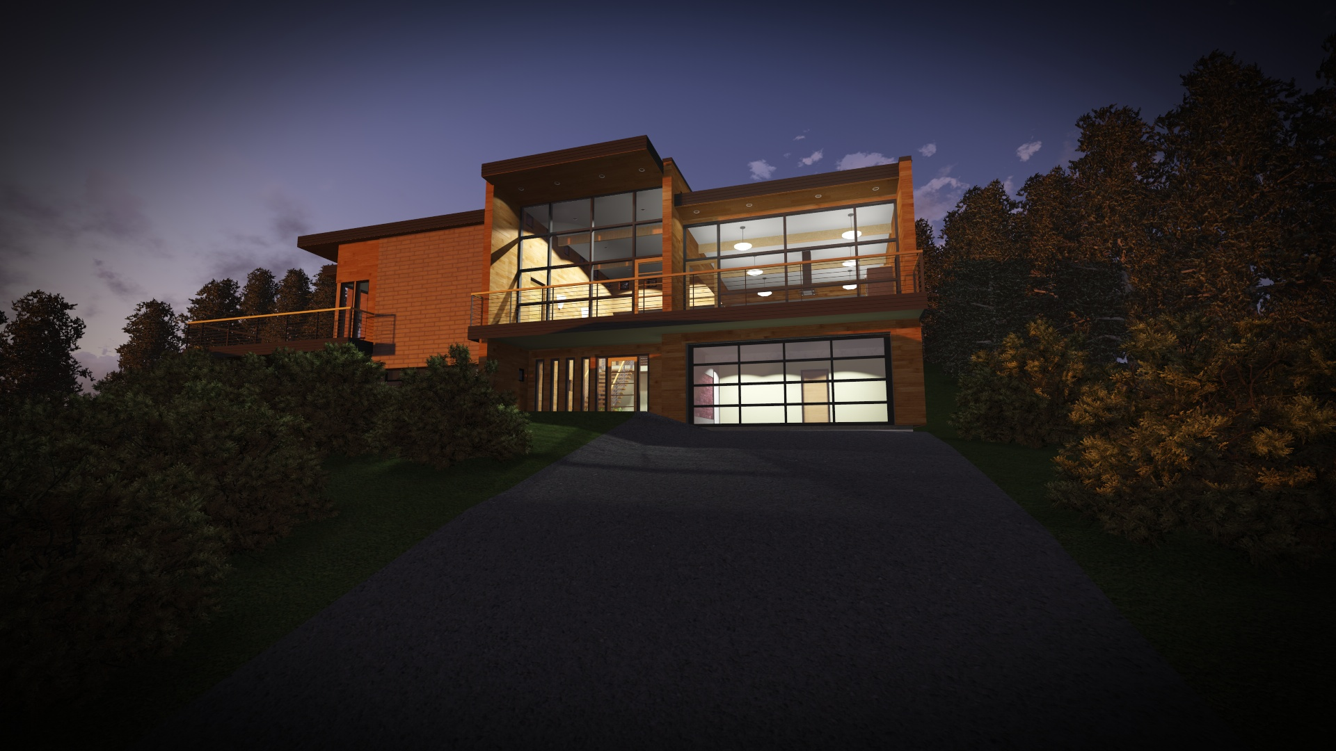 A modern remodel of an existing house (conceptual only).