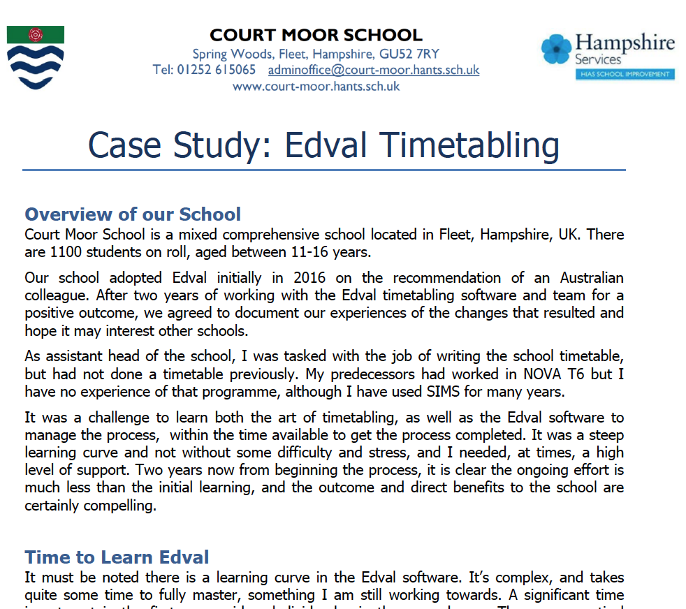 C ourt Moor Case Study -  Read the full case study