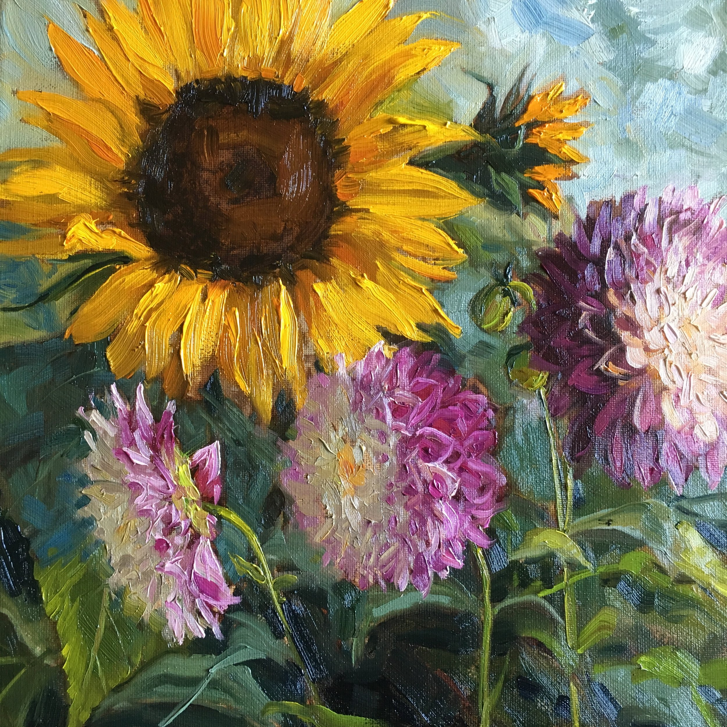Sunflowers and Dahlias - SOLD