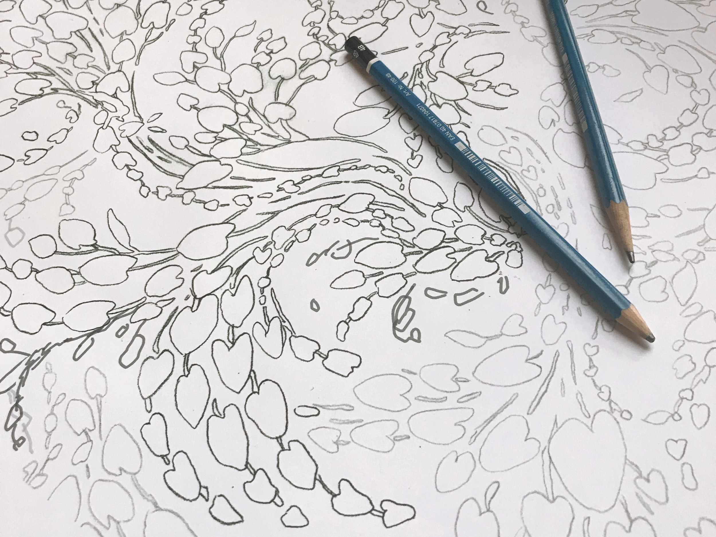 Drawing the layout in pencil