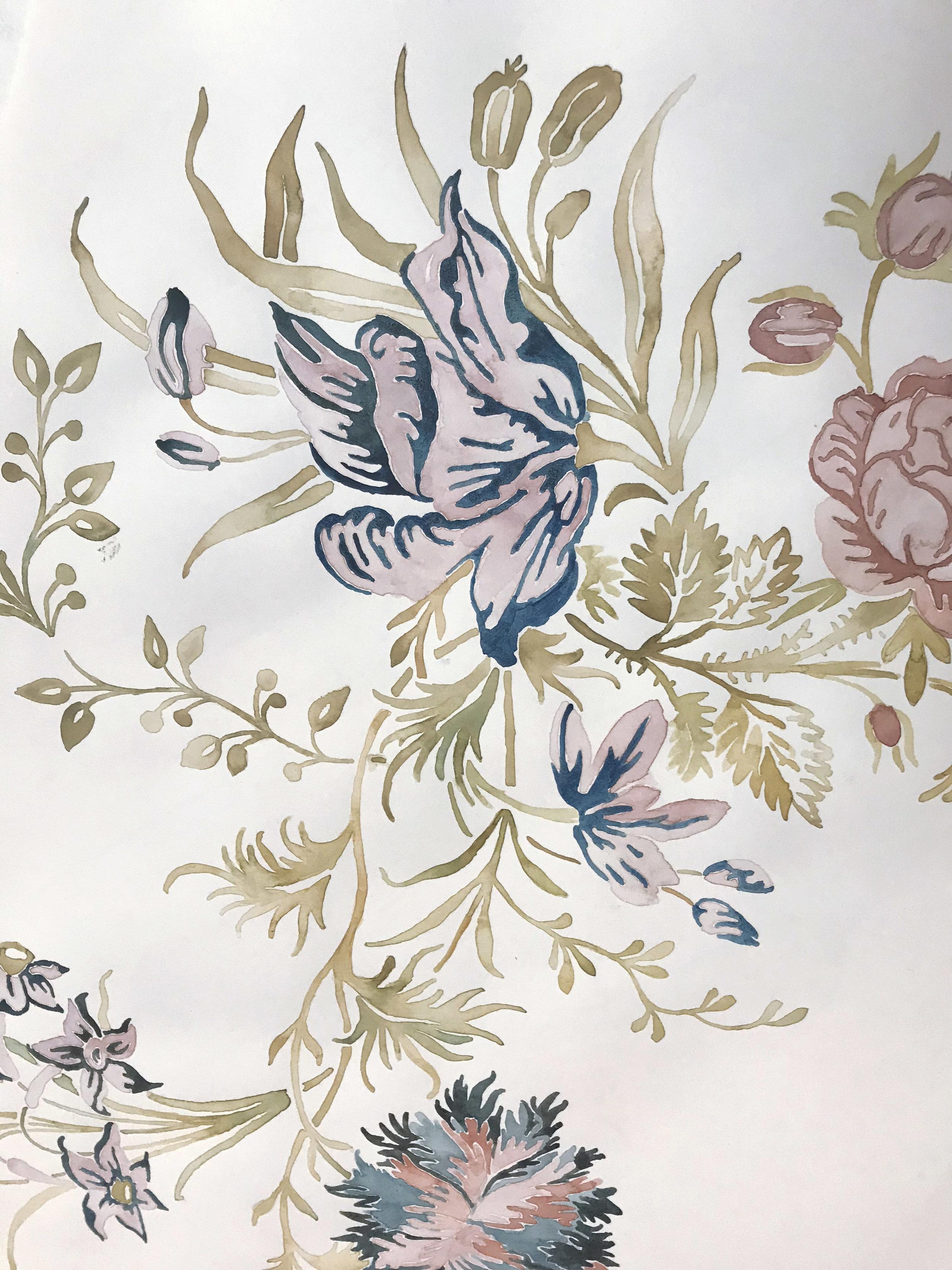 Watercolor Floral process 3