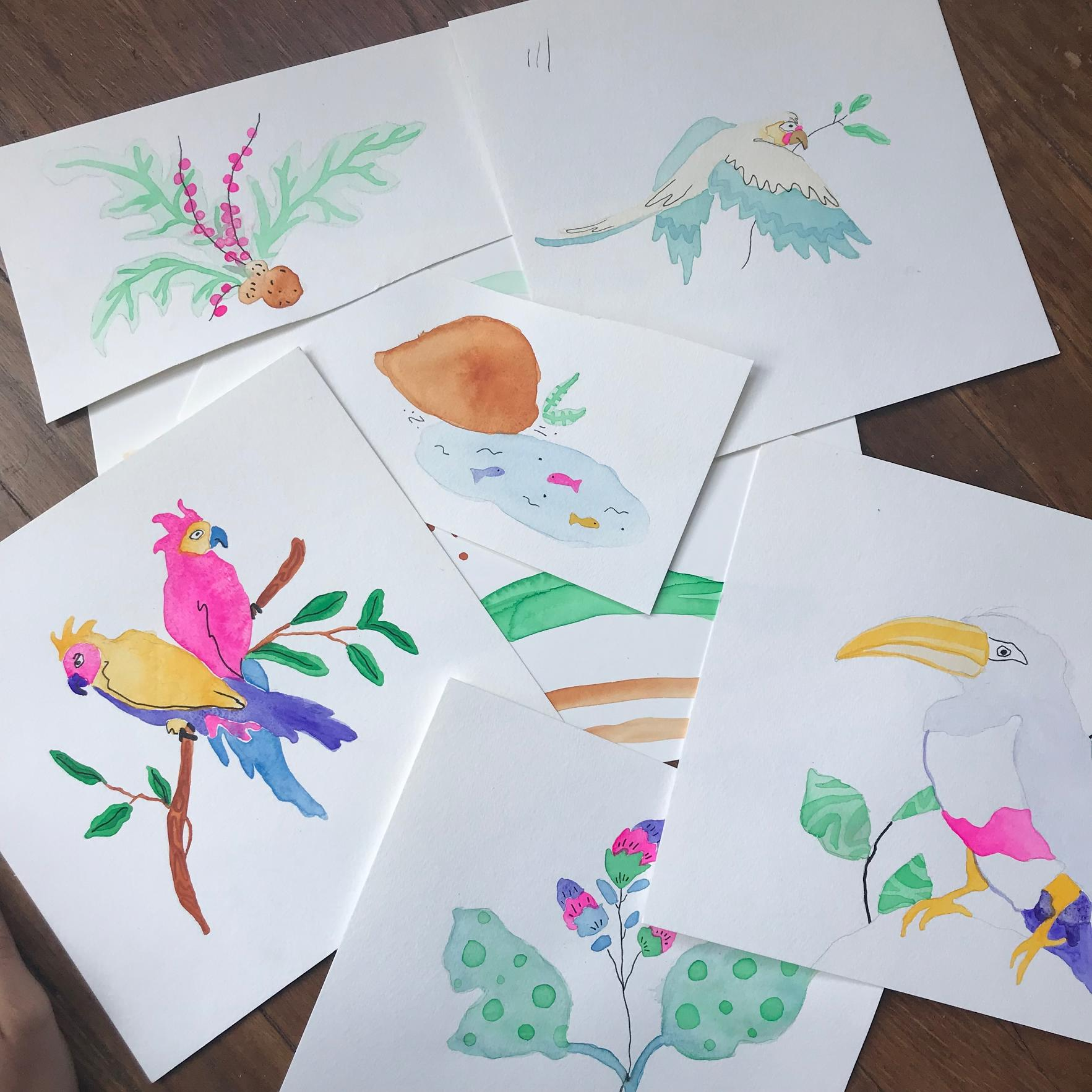 Jessica Violetta Tropical Birds Watercolor Paintings