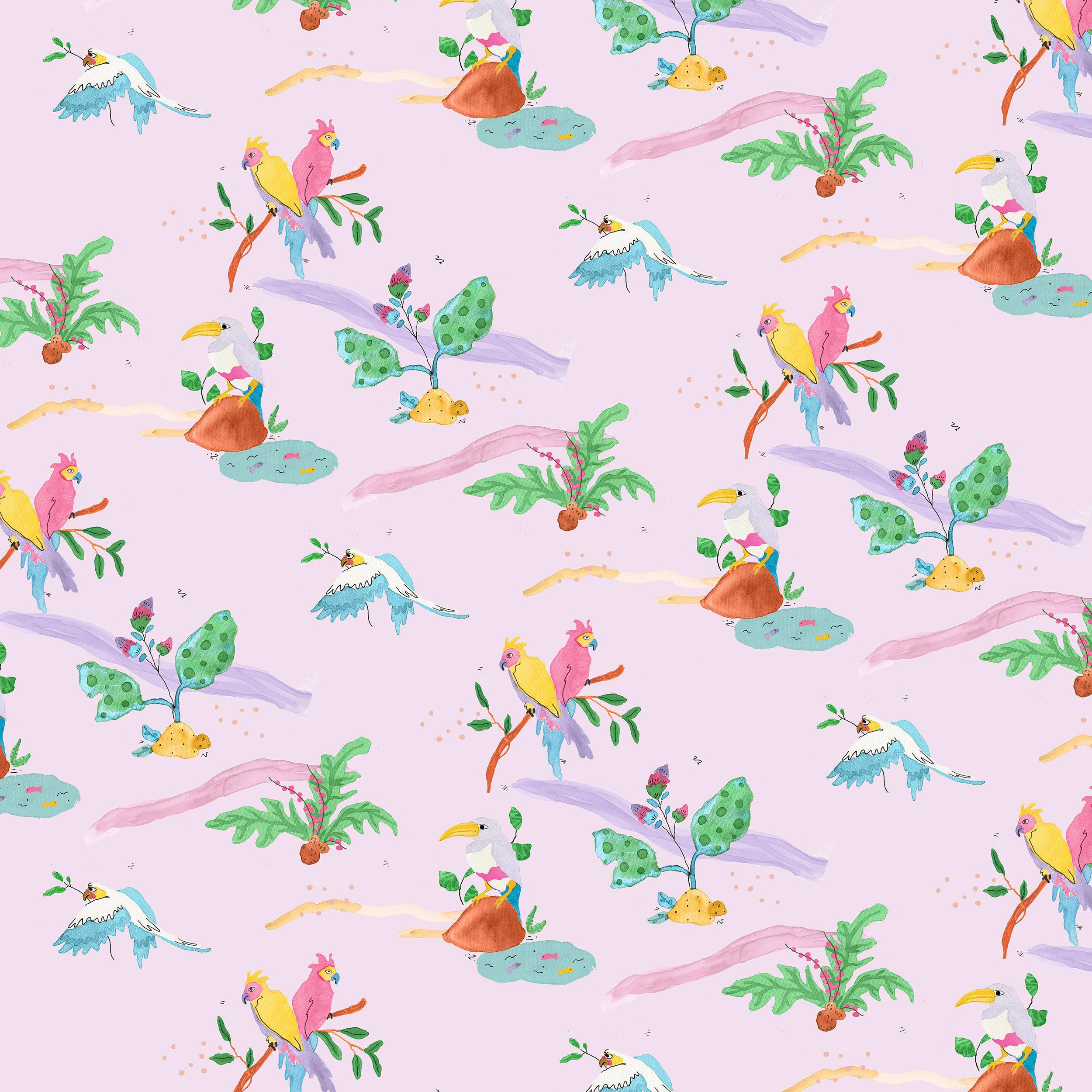 Jessica Violetta Tropical Birds Print Purple 2019