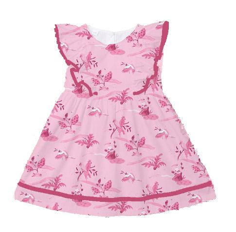 Jessica Violetta Tropical Birds Print Pink Dress 2019