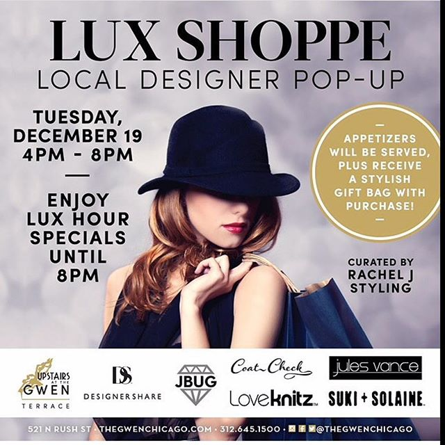 Tomorrow night is your last chance to shop our jewelry for holiday gift giving! We're popping up @thegwenchicago w/a selection of amazing Chicago designers curated by @racheljstyling including @loveknitz @suki_and_solaine @coatcheckchicago @jbugjulesjewelry @designershare - enjoy appetizers, drinks & gift bag w/purchase 🖤