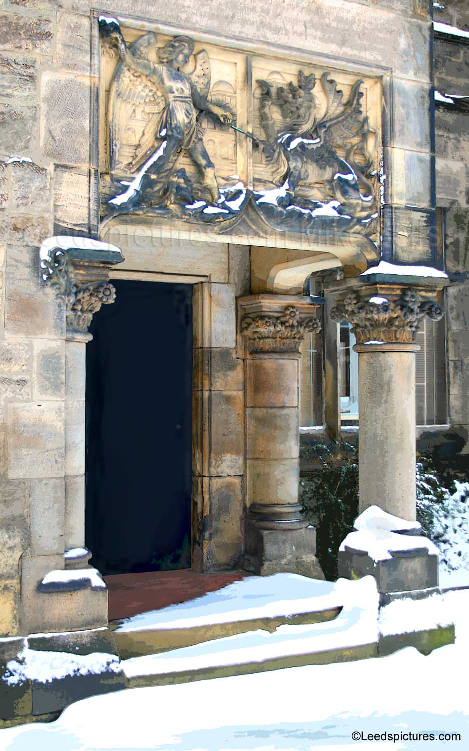 The Institute doorway on Bennett Road    An intriguing building - the snow and sunlight picks out the lovely design of the entrance