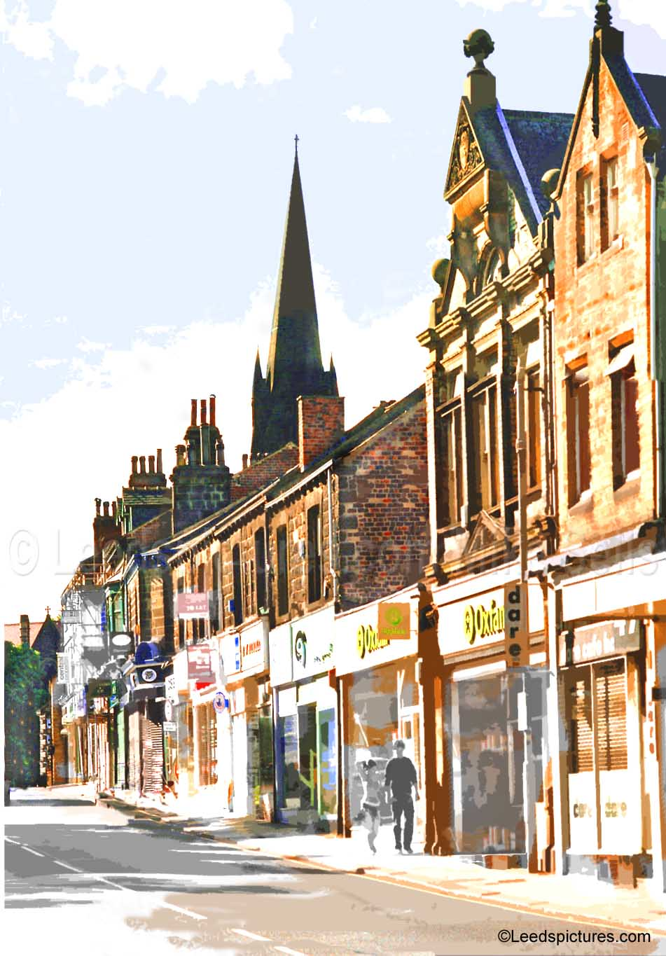 Headingley shops, Oxfam, St Michael's spire    Very early on a Sunday morning - where were the couple going?