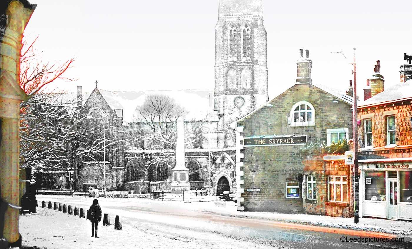 St Michael's  Churchand the Skyrack under snow     Early sun on a Sunday morning after overnight snow