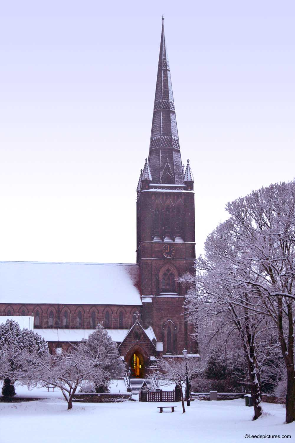 St Chads Church, snow    Cold outside but see the warmth from the doorway
