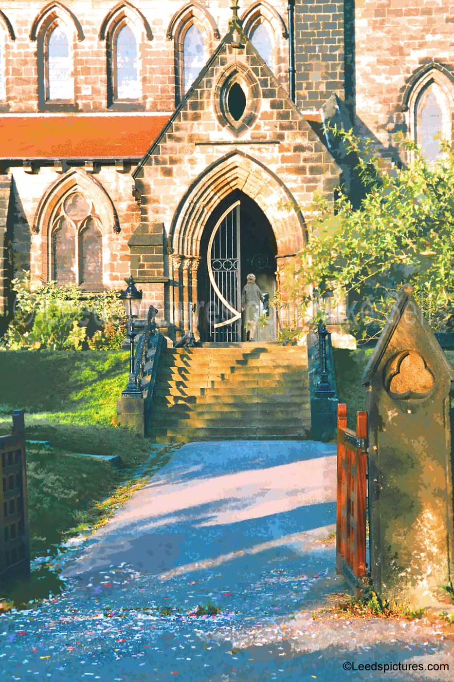 St Chad's - after a wedding     Early morning, dappled light and confetti still all over the path