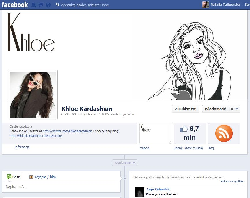 When you wake up and the Khloe Kardashian decided to put your drawing up as her Facebook Cover Picture. Yep.