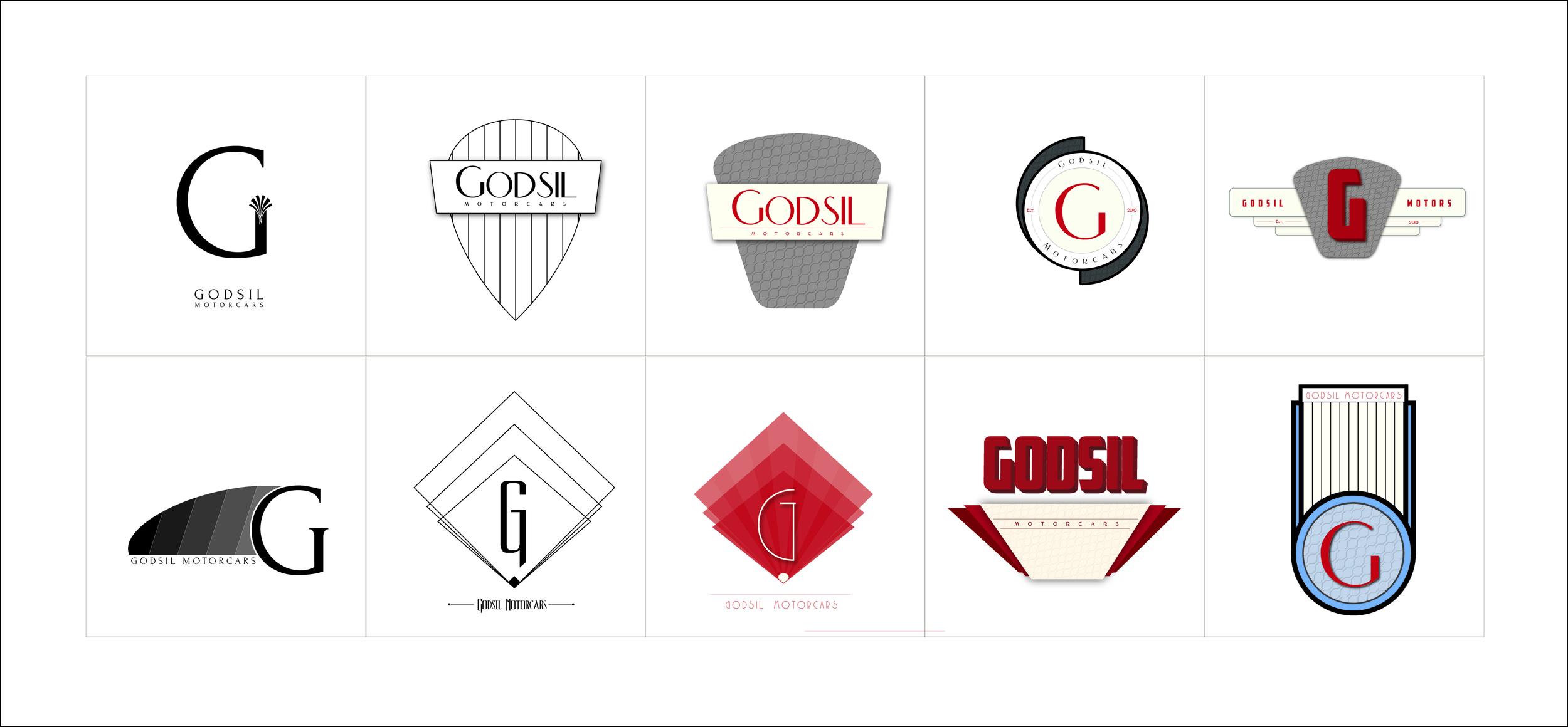 Logo exploration for up and coming car company, Godsil motorcars.