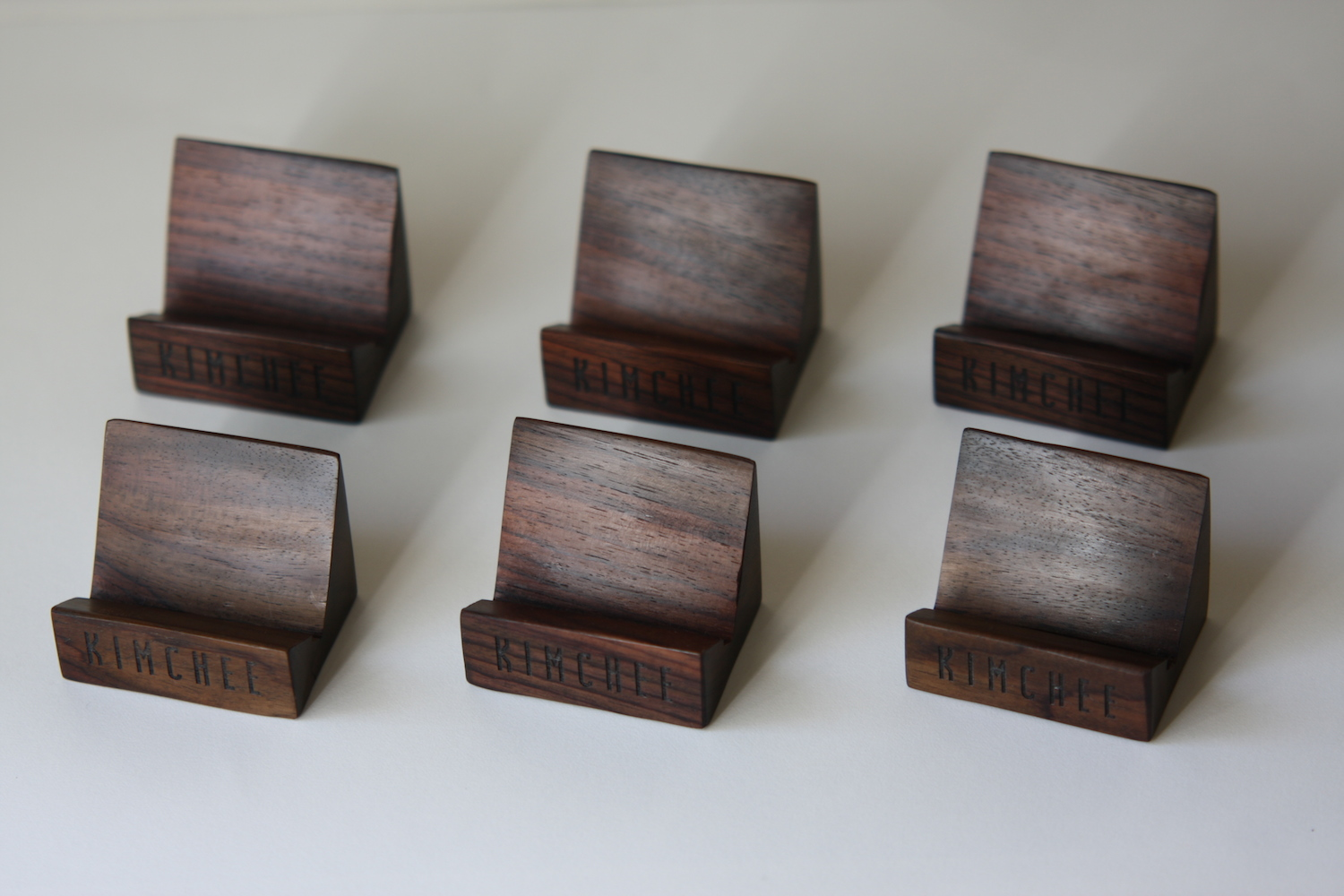 Custom laser engraved business card holders for a Sushi restaurant in London.