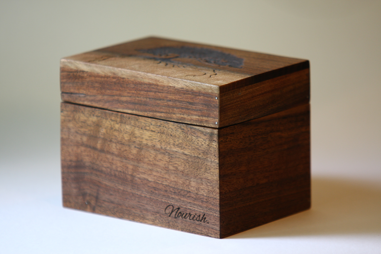 Custom made recipe box with laser engraved image and text
