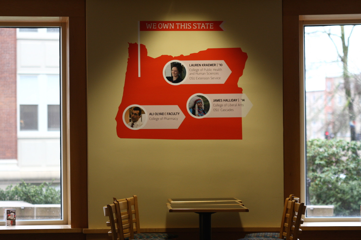 Design by OSU marketing I installed at Java II in the Valley Library on the OSU campus.