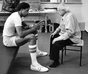 Dr. Feldenkrais in a private session with the American basketball star Julius Erving.