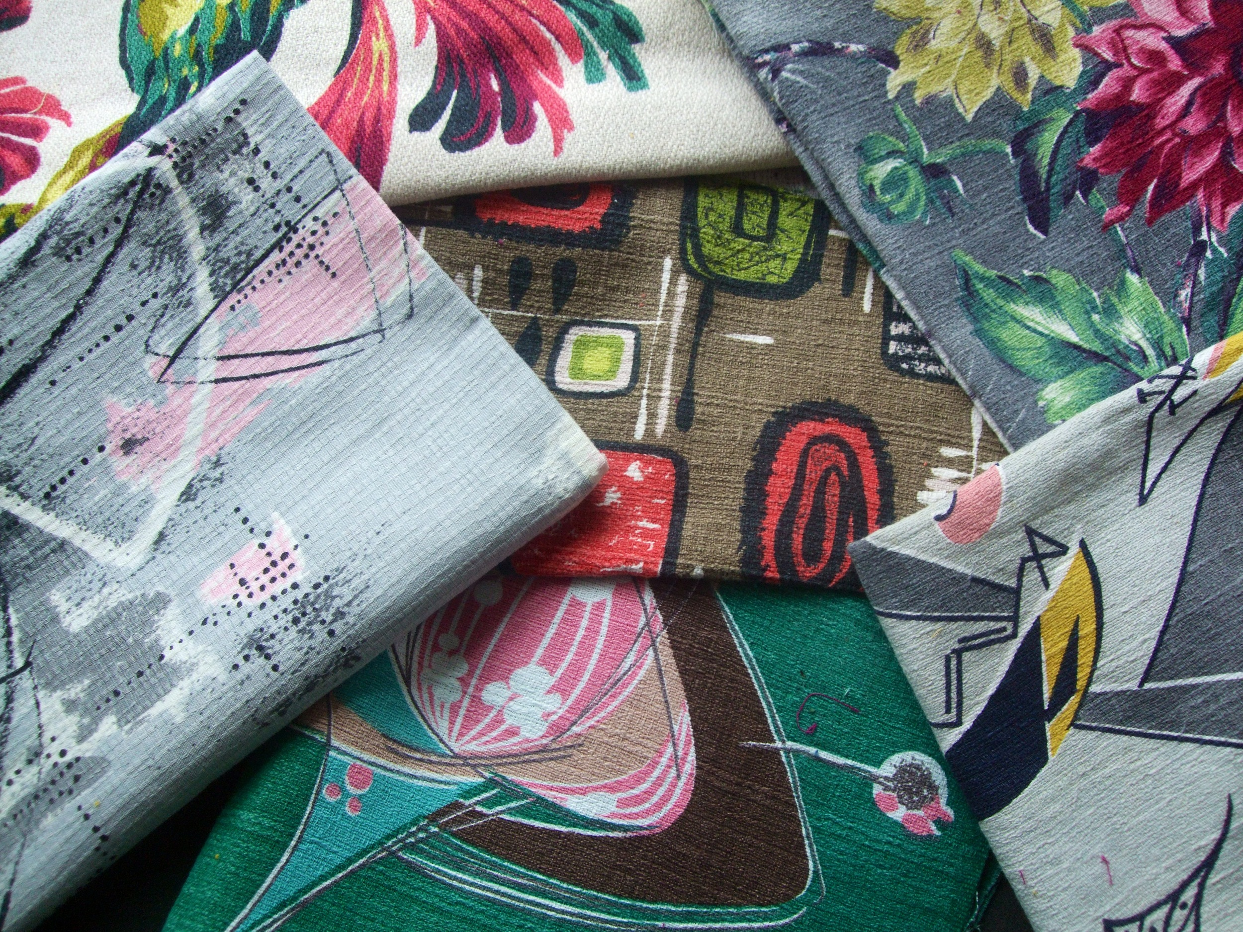 Examples of the many varieties of mid-century barkcloth in my collection. I am adding new fabrics continuously!
