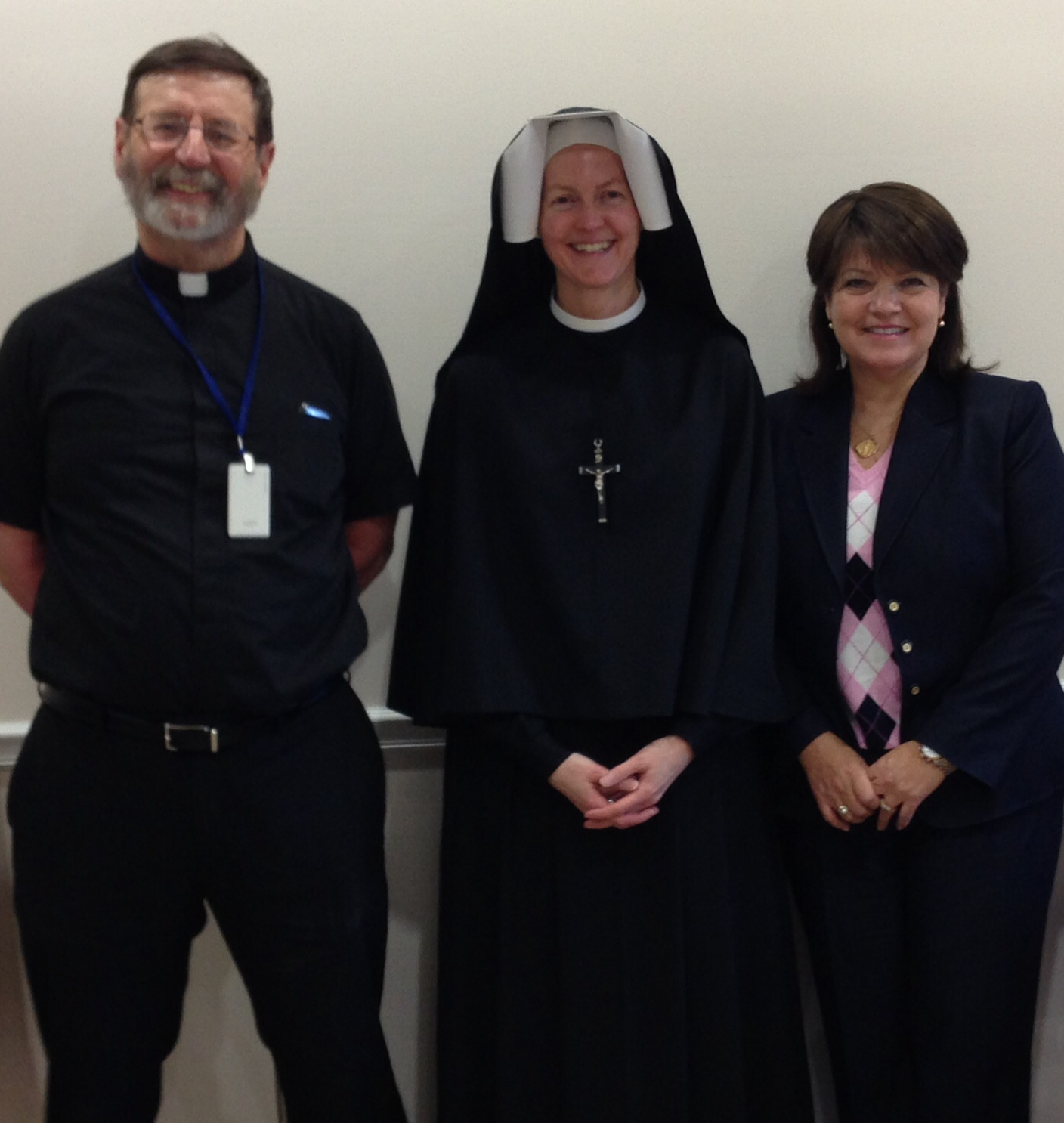 Kathleen on the EWTN set with Fr. Mitch Pacwa and Sister of Mercy, 2015.