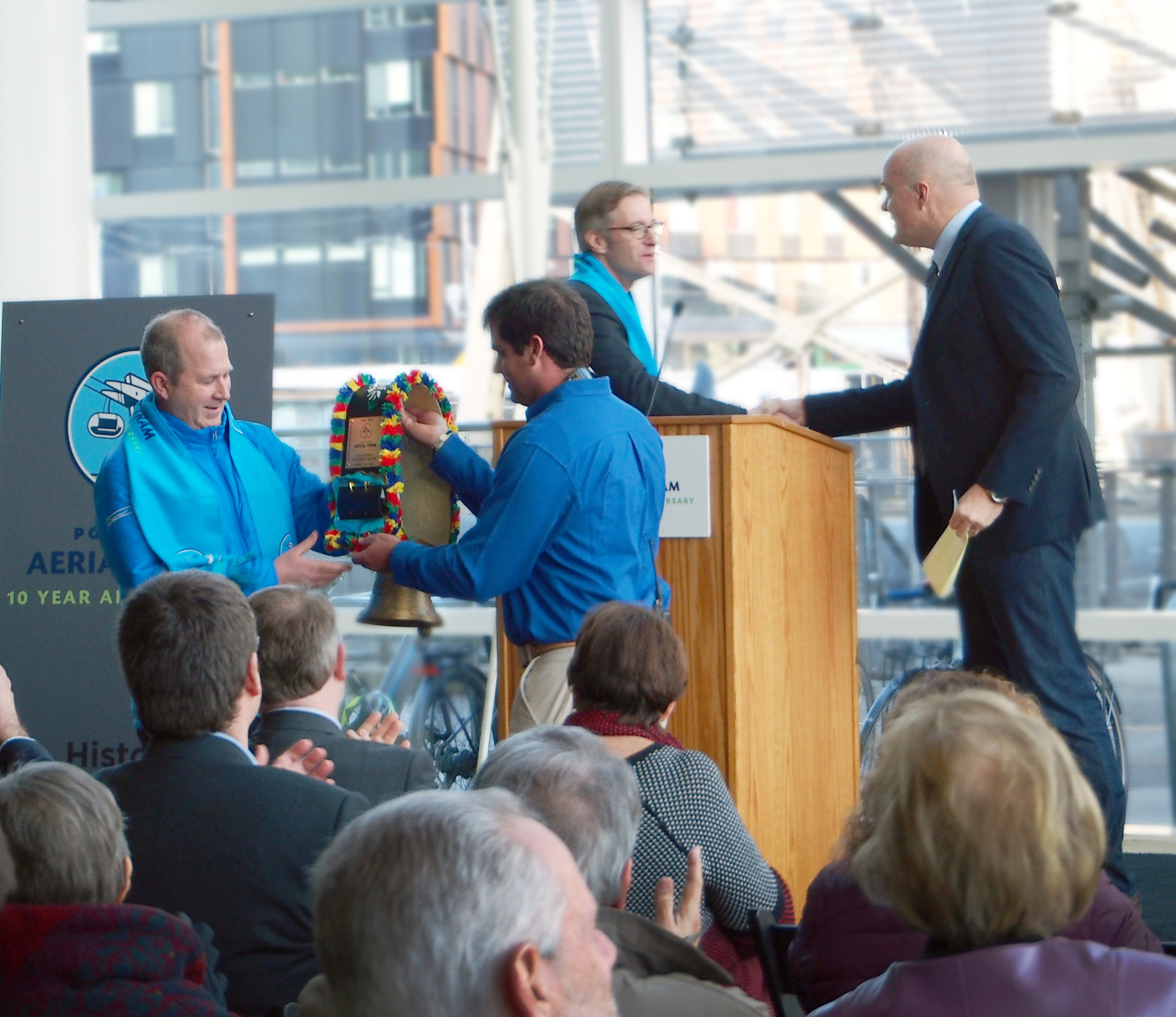 Ted Wheeler, City of Portland Mayor with Mark Bee of Doppelmayr and Brett Dodson of OHSU.