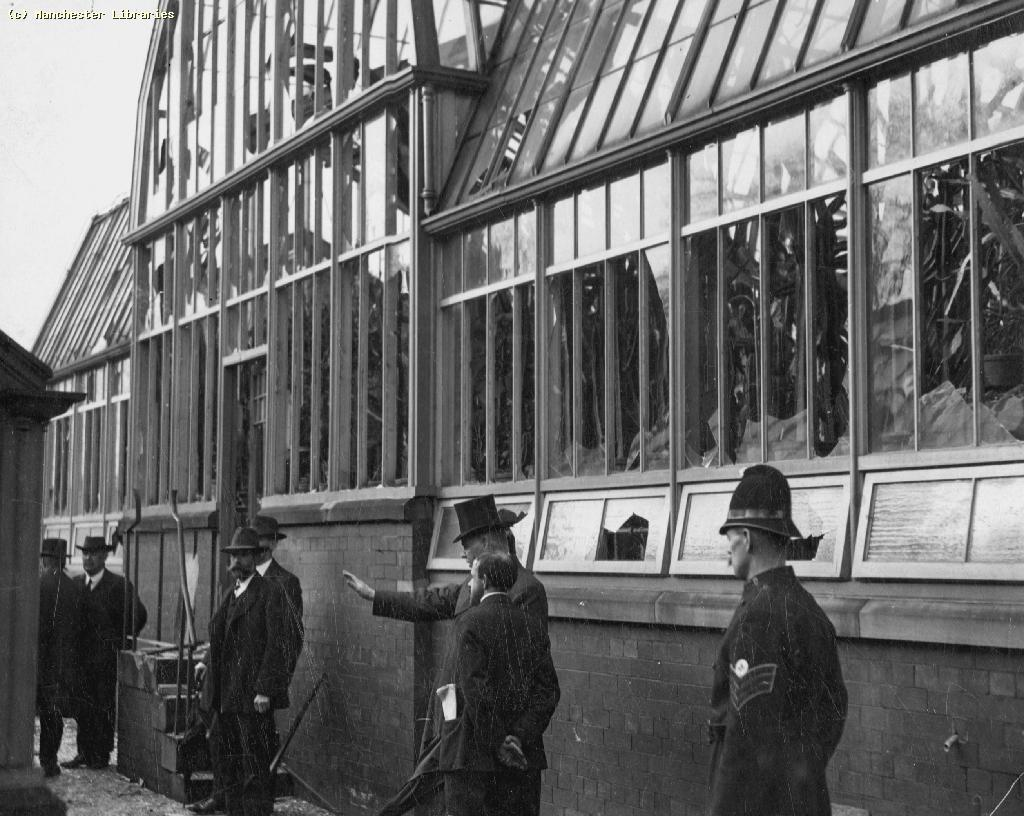 Cactus House, Alexandra Park, Moss Side, Chief Constable and some of his staff early on the spot after attack by Suffragettes 12.10.1913. Photo courtesy of Manchester Archive and Local Studies