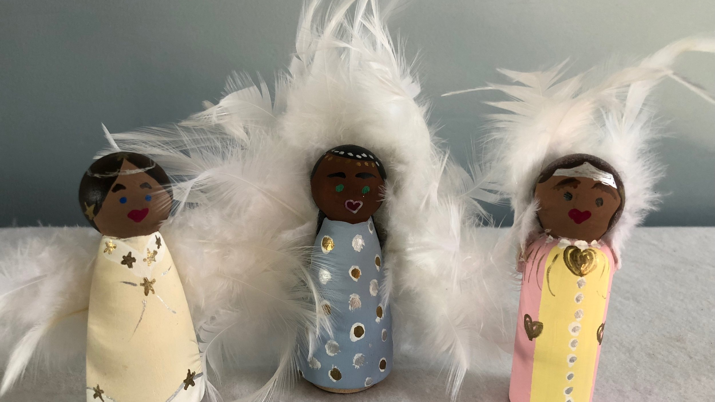 Three angels from my Sunday School/Children's Worship curriculum: The Big God Story of Love, Light, & Action.