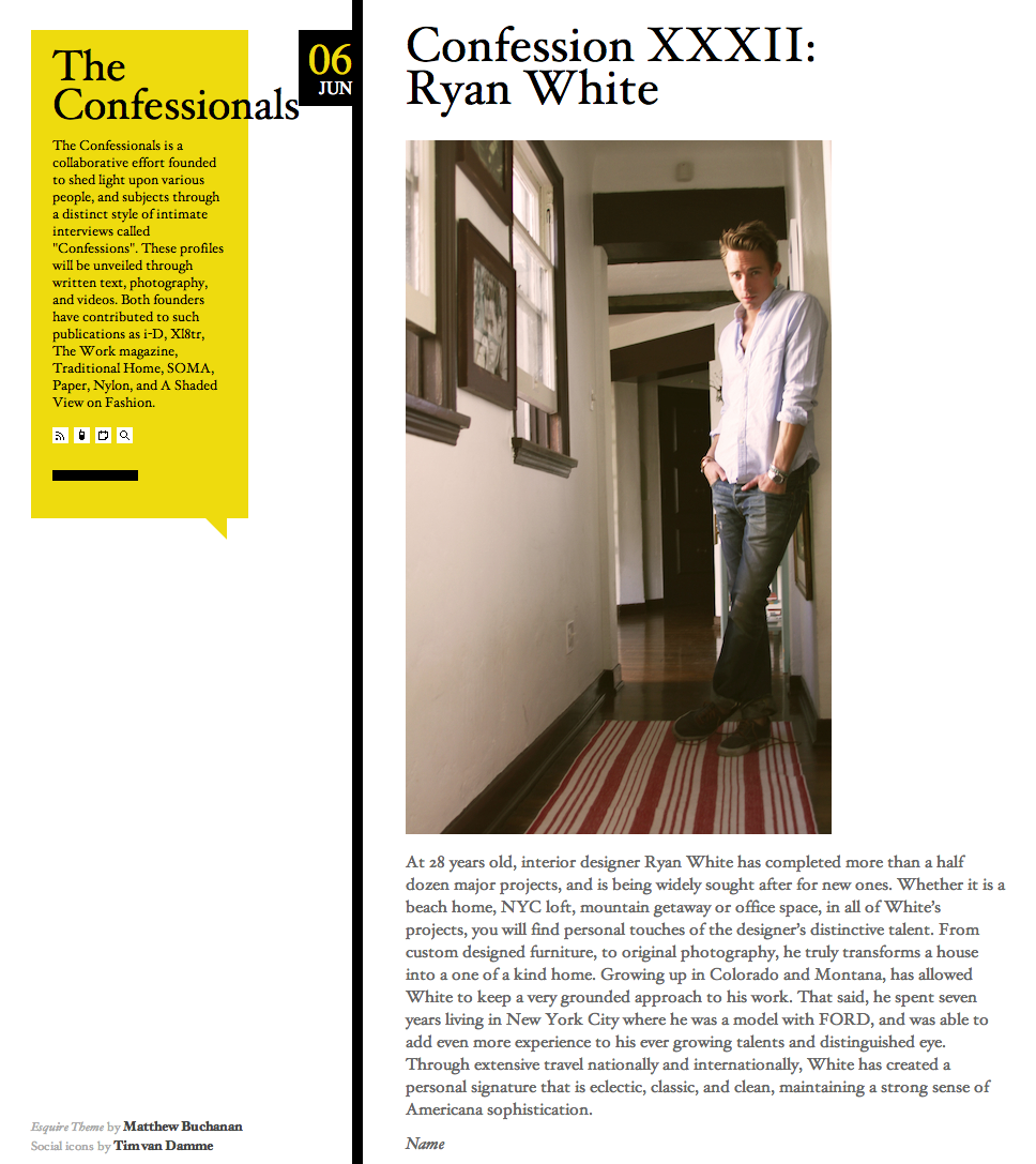 Esquire Magazine: The Confessionals with Ryan White