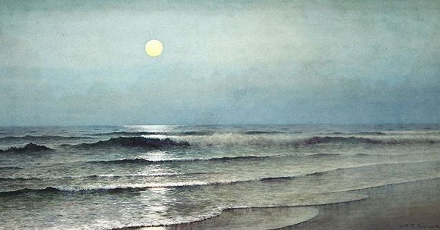 William Trost Richards (1833 - 1905) Moon Over the Waves, 1874 #IfItsMagic