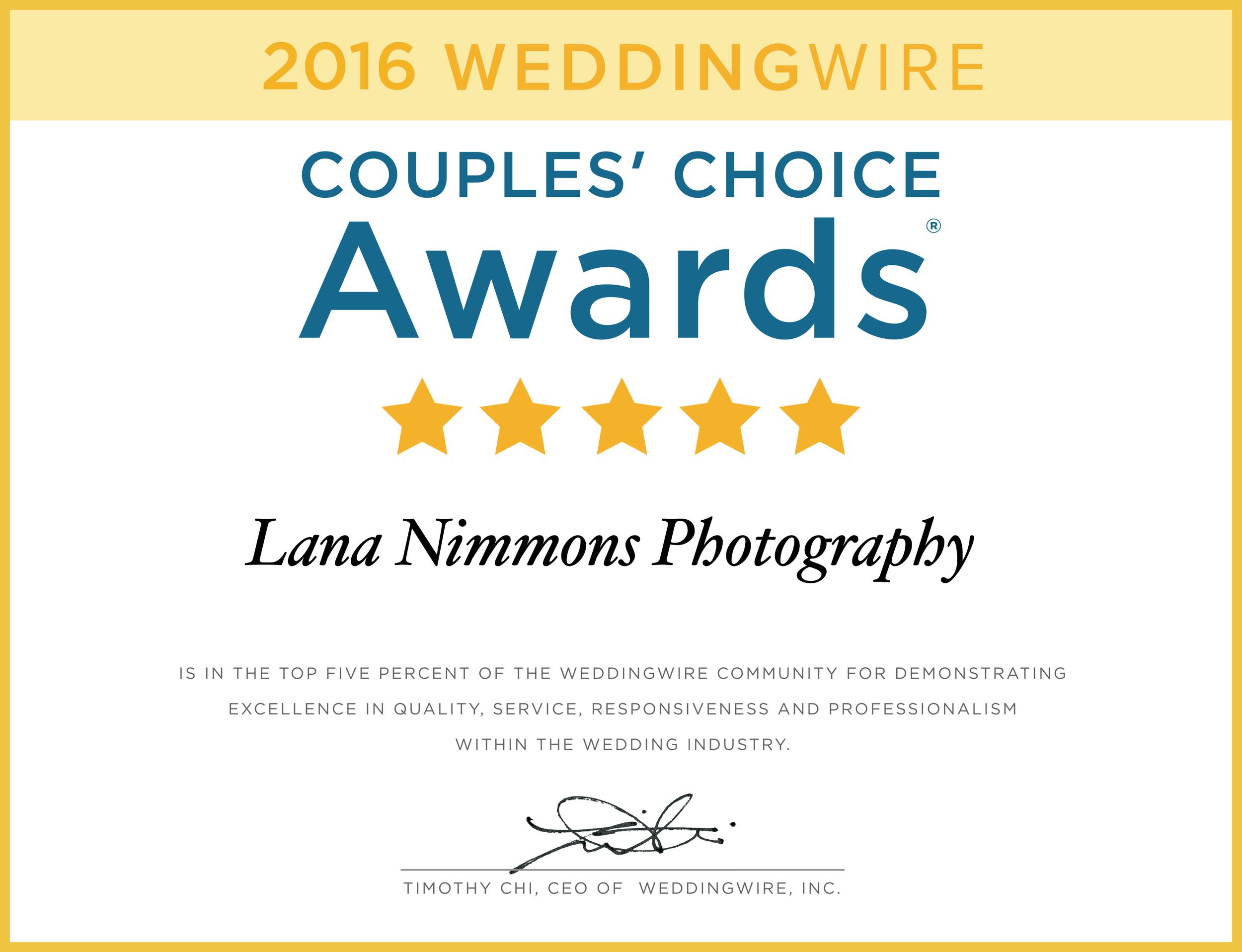 couple's choice award wedding photographer