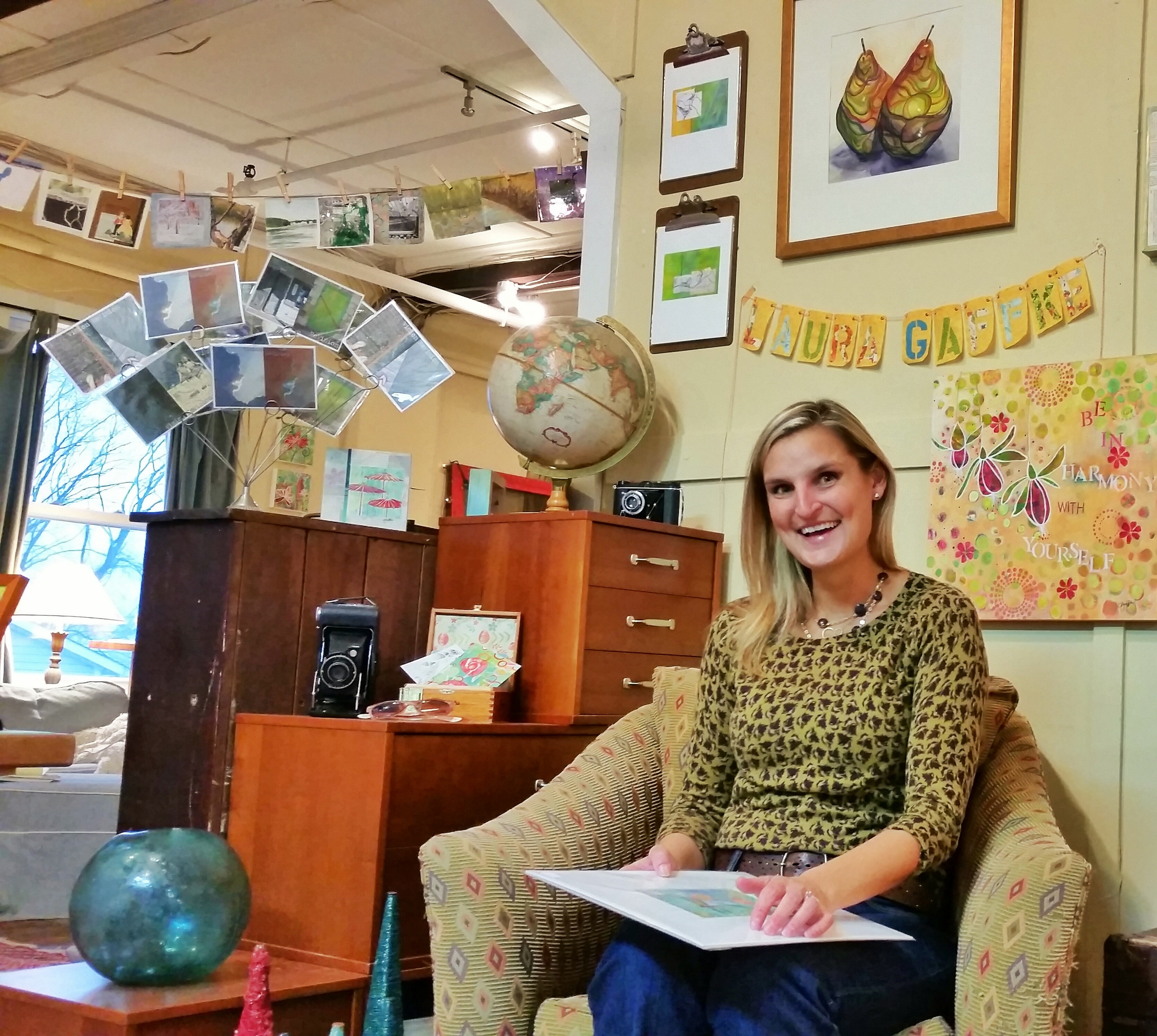 The lovely Laura Gaffke sitting in the Travel display! She and Susan Thomas are creating multiple vignettes mixing Laura's pieces with Susan's vintage