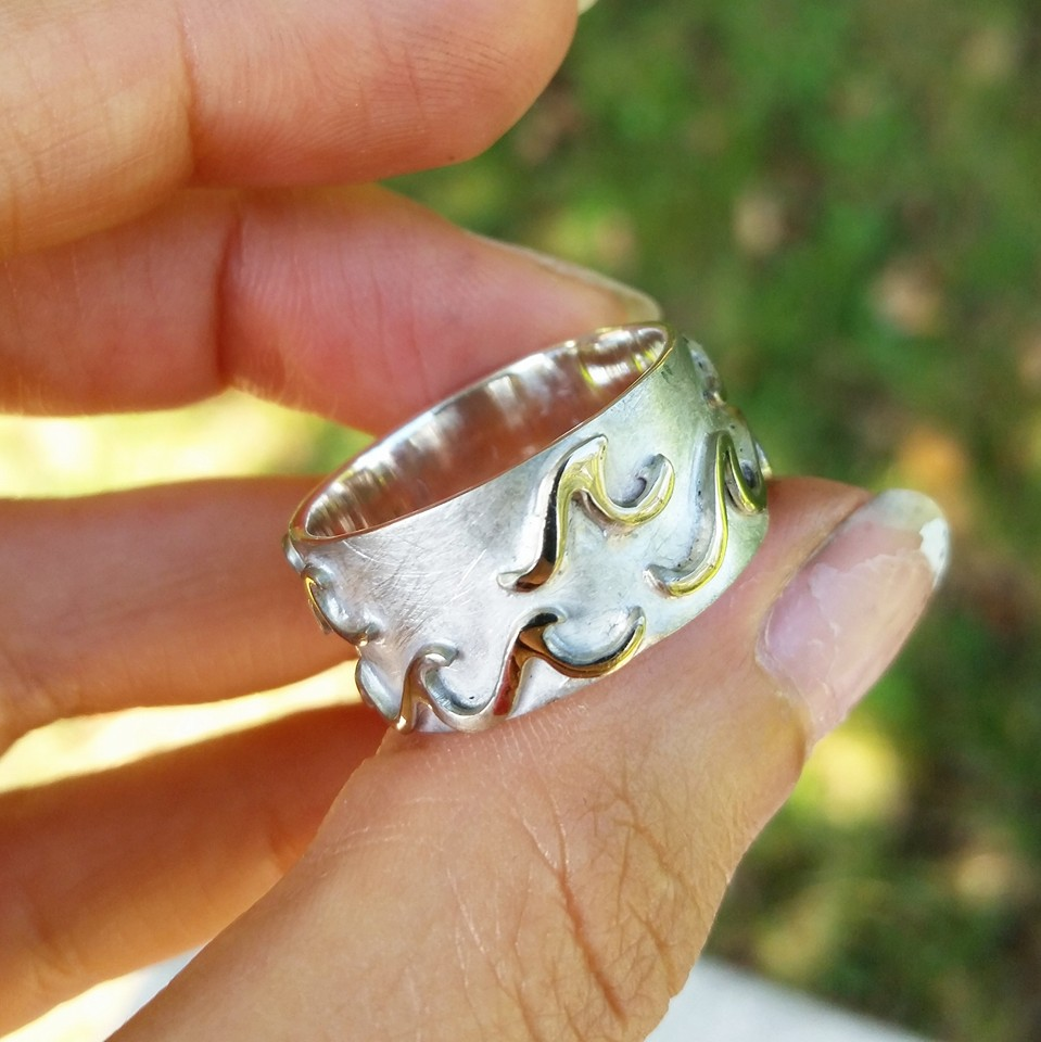Men's Wedding Band handmade with Recycled White Gold waves over a Sterling Silver band