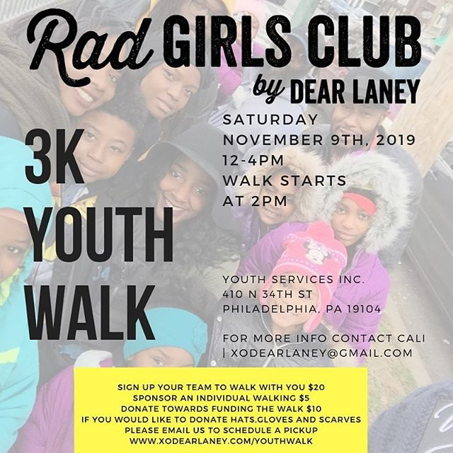 Hey everyone! 🧡 Dear Laney teamed up with @YSIPHILLY to create an event that brings awareness to their programs which is geared to less fortunate youth. On the site there is a tab for the walk where you can sponsor a child and donate towards the fundraiser. There will be music, food, games and FUN! All proceeds go to the event and the rest goes to the shelter.  We are also asking for cold weather gear (hats, gloves, scarves) to be donated and dropped off at the studio Monday - Friday. We thank you in advance! Hope to see you there. . #dearlaney #dearlaneyyouthwalk #charityevent #dearlaney3kyouthwalk #walk #philadelphia #brotherlylove #youth #homelessness #phillyyouth