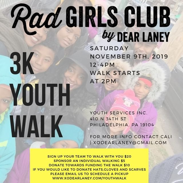 Guess what Dear Laney Gang? We're getting ready for our 3K Youth Walk. 👟 We teamed up with @YSIPHILLY to create an event that brings awareness to their programs which is geared to less fortunate youth. On the site there is a tab for the walk where you can sponsor a child and donate towards the fundraiser. There will be music, food, games and FUN! All proceeds go to the event and the rest goes to the shelter. ⠀⠀⠀⠀⠀⠀⠀⠀⠀ We are also asking for cold weather gear (hats, gloves, scarves) to be donated and dropped off at the studio Monday - Friday. We thank you in advance! Hope to see you there.⠀⠀⠀⠀⠀⠀⠀⠀⠀ .⠀⠀⠀⠀⠀⠀⠀⠀⠀ #dearlaney #dearlaneyyouthwalk #charityevent #dearlaney3kyouthwalk #walk #philadelphia #brotherlylove #youth #homelessness #phillyyouth