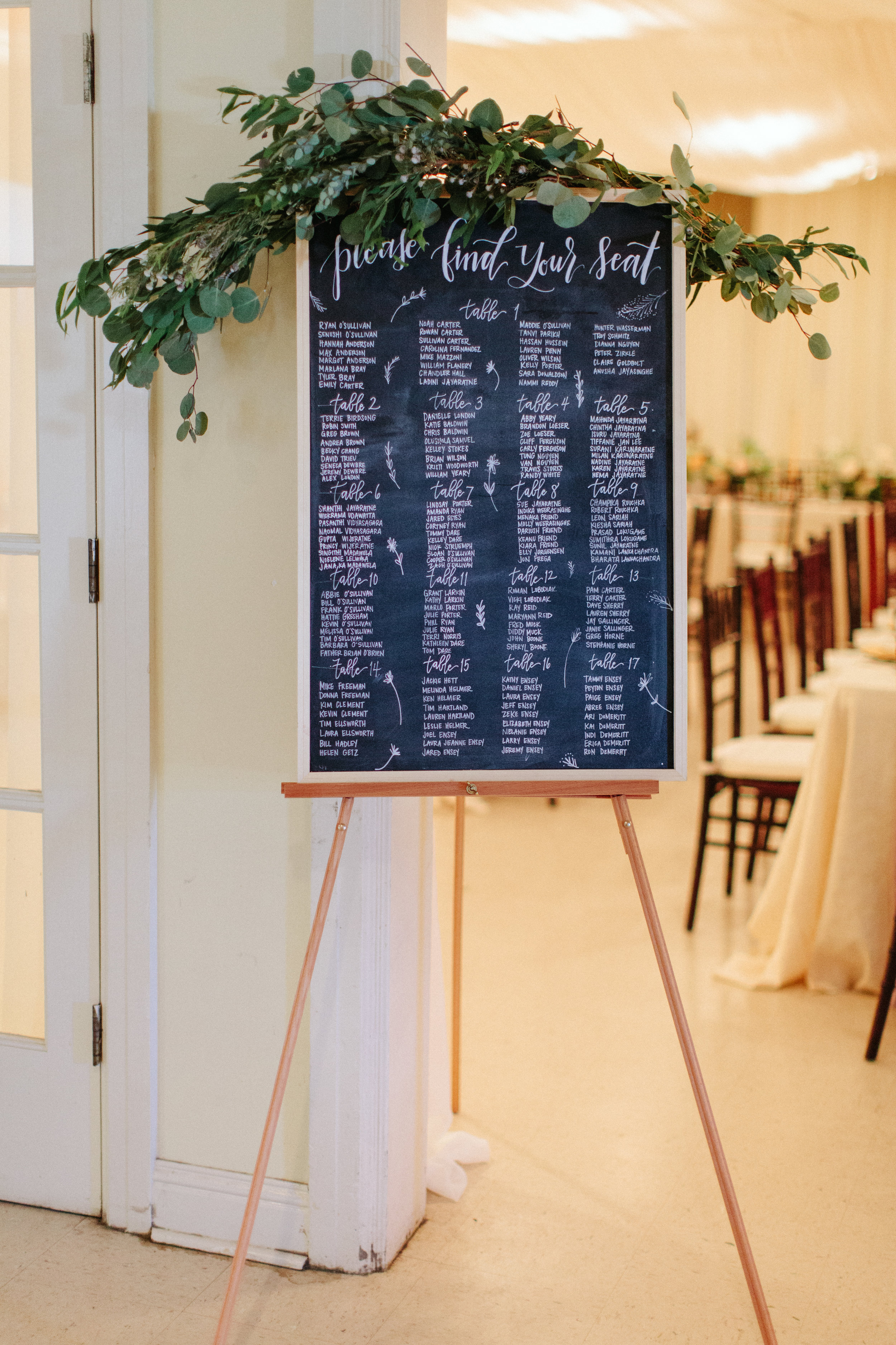 Top image by Monica Burgess; Seating Chart sign by Jen Dillender.