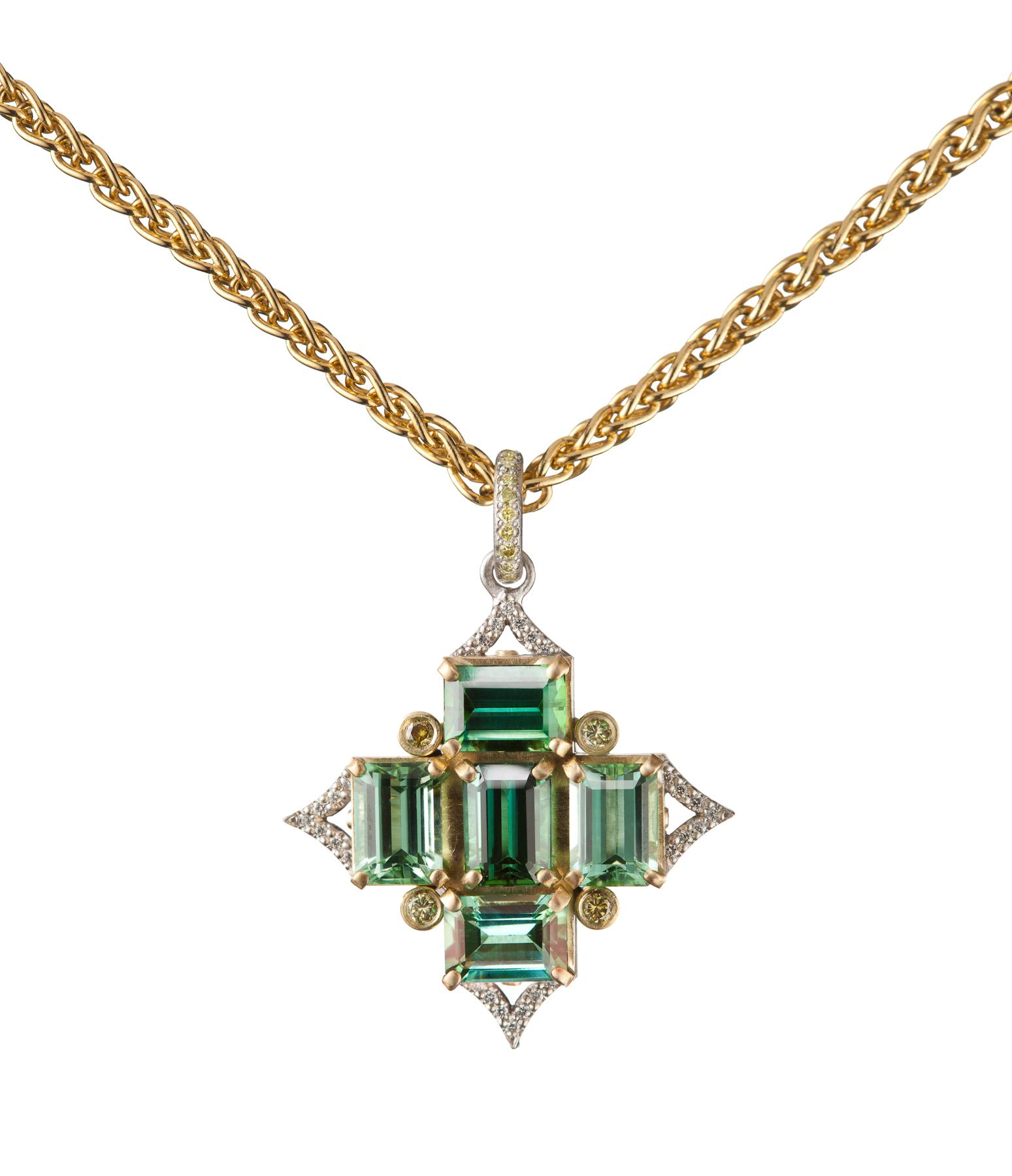 Green Tourmaline Pendant in Platinum & 18K Gold with Yellow-Green Diamonds