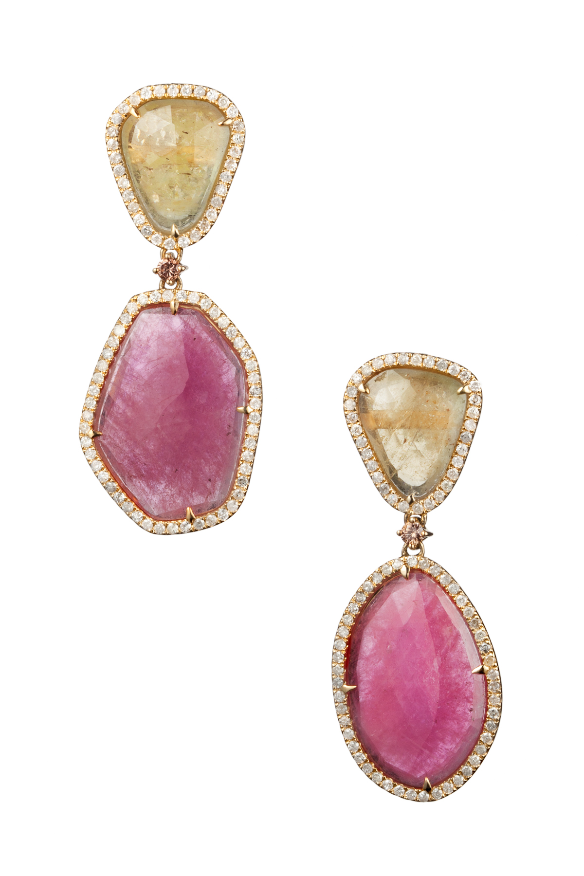 Pink Sapphire & Yellow Sapphire with Diamonds Drop Earrings