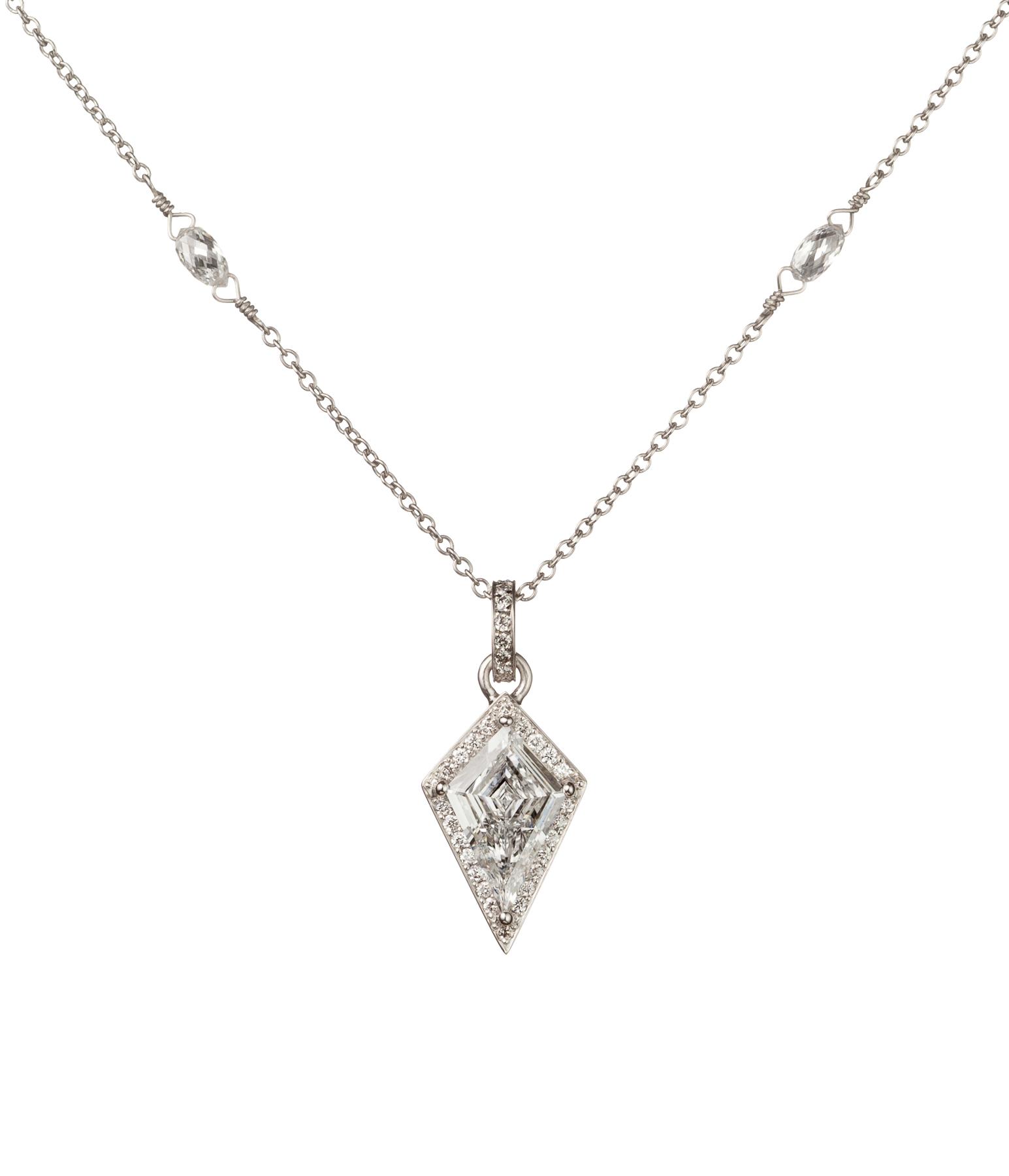 Kite Diamond Pendant with Diamond Halo, in Platinum with Diamond Bezels.