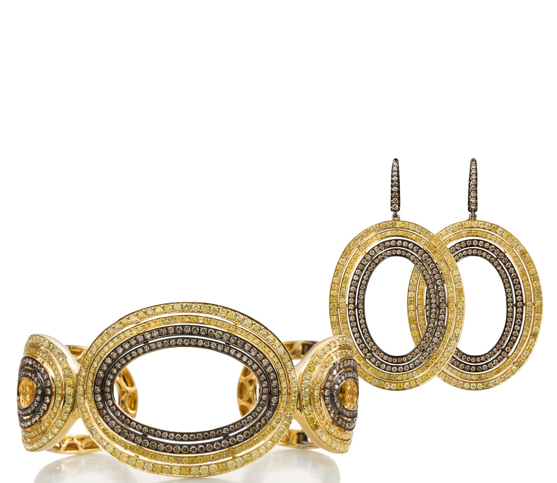 Yellow and Cognac Diamond Earrings and Cuff in 18kt Yellow Gold