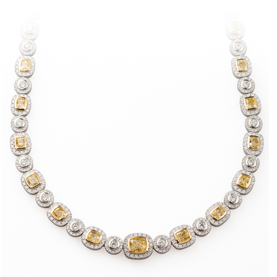 White and Yellow Diamond Necklace in 18kt White and Yellow Gold by Kathleen Dughi